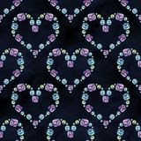 Modelo incons?til Cepille los movimientos, perla, cristales, corazones Fondo abstracto de la acuarela stock de ilustración