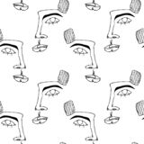 Modelo incons?til con las caras Silueta abstracta del esquema del rostro humano Cartel moderno de la vanguardia stock de ilustración