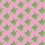 Modelo incons?til con las flores y las hojas en fondo rosado stock de ilustración