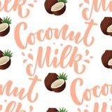 Modelo incons?til con las letras de la leche de coco para el dise?o de la bandera, del fondo, del logotipo y de empaquetado Comid stock de ilustración