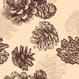 Modelo incons?til con los conos y las ramas del pino Diseño para las tarjetas y el empaquetado de felicitación de la Navidad, inv ilustración del vector