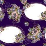 Modelo incons?til con los marcos del oro y los ramos de flores Rosas de las lilas de las peon?as Vector libre illustration