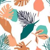 Modelo incons?til con rosa y las hojas azules Fondo tropical brillante stock de ilustración