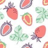 Modelo incons?til de fresas Fruta, hoja, rebanada de fresa Ejemplo exhausto de la mano del vector fijado en estilo plano de moda  ilustración del vector