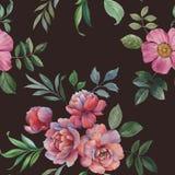 Modelo incons?til de la acuarela Ejemplo de flores y de hojas stock de ilustración