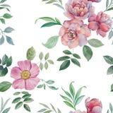 Modelo incons?til de la acuarela Ejemplo de flores y de hojas libre illustration