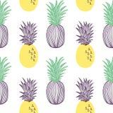 Modelo incons?til de la pi?a Fruta y parte del exitix tropicales Ejemplo exhausto de la mano del vector fijado en estilo plano de ilustración del vector
