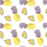 Modelo incons?til de la pi?a Fruta y parte del exitix tropicales Ejemplo exhausto de la mano del vector fijado en de moda moderno libre illustration