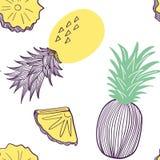Modelo incons?til de la pi?a Fruta y parte del exitix tropicales Ejemplo exhausto de la mano del vector fijado en de moda moderno stock de ilustración