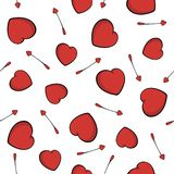 Modelo incons?til de las flechas del cupido S?mbolo del amor del coraz?n Flechas y fondo lindos de los corazones para el día de t libre illustration