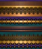 Modelo incons?til de las rayas Sistema de la raya de fronteras incons?tiles bohemias del cord?n Contexto decorativo del ornamento ilustración del vector