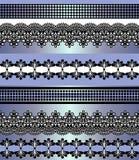 Modelo incons?til de las rayas Sistema de la raya de fronteras incons?tiles bohemias del cord?n Contexto decorativo del ornamento stock de ilustración
