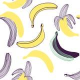 Modelo incons?til de pl?tanos Fruta, hoja del plátano Ejemplo exhausto de la mano del vector fijado en el estilo plano de moda mo ilustración del vector