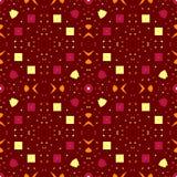 Modelo incons?til del contraste del extracto Anaranjado, amarillo, carmesí, elementos; fondo marrón stock de ilustración