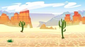 Modelo incons?til del oeste salvaje con las monta?as y los cactus Fondo occidental retro para los juegos, el ui, los carteles etc stock de ilustración