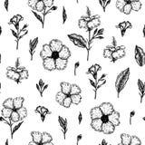 Modelo incons?til del vector con las flores tropicales ilustración del vector