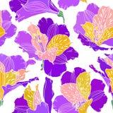 Modelo incons?til del vector con las plantas dibujadas mano Fondo bot?nico con las flores, las hojas y las ramas Alstroemeria libre illustration
