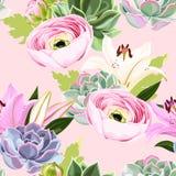 Modelo incons?til del vector con suculento y la flor libre illustration