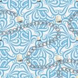 Modelo incons?til del vector floral del vintage Flores exhaustas de la mano rayada azul de la elegancia, hojas Perlas blancas 3d  libre illustration