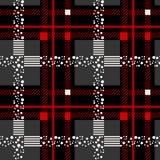 Modelo incons?til escoc?s negro y rojo de la tela escocesa de tart?n Textura del tart?n, tela escocesa, manteles, ropa, camisas,  ilustración del vector