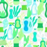 Modelo incons?til Fuentes y hojas amistosas de limpieza del hogar de Eco Detergentes naturales Productos para el lavado de la cas imágenes de archivo libres de regalías