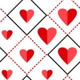 Modelo incons?til geom?trico con los cuadrados y los corazones rojos Ilustraci?n del vector ilustración del vector
