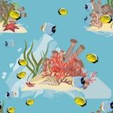 Modelo incons?til Mundo subacu?tico realista Pescados, corales, algas y estrellas de mar tropicales stock de ilustración