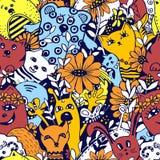 Modelo incons?til Personajes de dibujos animados en el estilo del kawaii con la imagen de animales, de p?jaros y de flores Fondos ilustración del vector