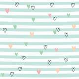 Modelo incons?til rayado con los corazones Modelo lindo con las rayas verdes Vector ilustración del vector