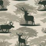 Modelo incons?til Reno salvaje de los ciervos de las siluetas en bosque libre illustration