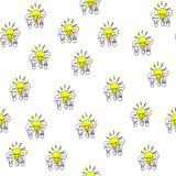 Modelo incons?til Tr?os exhaustos de los bulbos de la mano Tema de la electricidad Tambi?n un concepto de direcci?n y de ?xito stock de ilustración