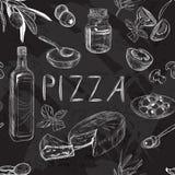 Modelo inconsútil blanco y negro con el menú de la pizza Fotografía de archivo