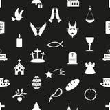 Modelo inconsútil blanco y negro eps10 de los símbolos de la religión del cristianismo Foto de archivo