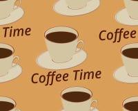 Modelo inconsútil con la taza de café en un platillo Tiempo del café Vector Imágenes de archivo libres de regalías
