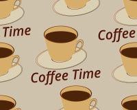 Modelo inconsútil con la taza de café en un platillo Tiempo del café Vector Imagen de archivo