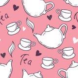 Modelo inconsútil con la taza de té y la tetera dibujadas mano Fondo del Doodle Imagenes de archivo