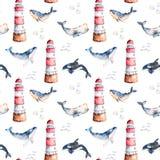 Modelo inconsútil con las ballenas, las conchas marinas y el faro pintados a mano de alta calidad de la acuarela en colores en co Fotografía de archivo libre de regalías