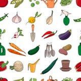 Modelo inconsútil con las diversos verduras y utensilios de jardinería Foto de archivo