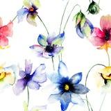 Modelo inconsútil con las flores Foto de archivo libre de regalías