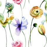 Modelo inconsútil con las flores Foto de archivo