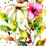 Modelo inconsútil con las flores abstractas Foto de archivo libre de regalías