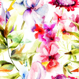 Modelo inconsútil con las flores hermosas Fotos de archivo
