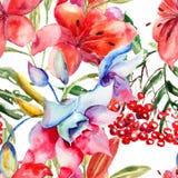 Modelo inconsútil con las flores hermosas del lirio Foto de archivo libre de regalías