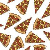 Modelo inconsútil con las rebanadas de la pizza de salchichones Imágenes de archivo libres de regalías