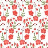 Modelo inconsútil con las rosas rojas lindas estilizadas Imagen de archivo