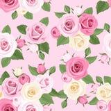 Modelo inconsútil con las rosas rosadas y blancas en un fondo rosado. Imagen de archivo