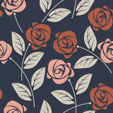 Modelo inconsútil con las rosas rosadas y rojas en backgr azul Imagenes de archivo