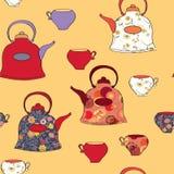Modelo inconsútil con los crisoles y la taza del té Foto de archivo libre de regalías