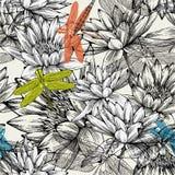 Modelo inconsútil con los lirios de agua y las libélulas Imagen de archivo