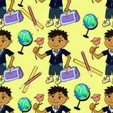 Modelo inconsútil con un alumno de primera clase del muchacho y del globo en a Imagen de archivo